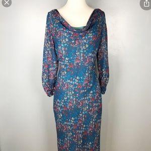 Sundance blue long sleeve floral midi silk dress